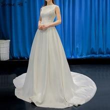 """Белые с вырезом """"лодочка"""" атласное, Сексуальные вечерние платья, 2020, высокое качество, без рукавов, простое, официальное платье, настоящая фотография 66835"""