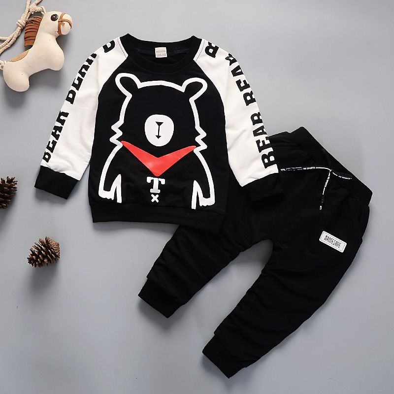 2pcs Baby Boy Set cartoon bear fashion Cotton Cool kids Boys Sets Infant Warm Pullover Pants Suit Newborns Toddler Clothing Sets