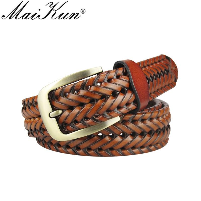 Maikun Men Braided Belt Woven Leather Belts For Men Women Vintage Waist Strap Casual Belt Pin Buckle Male Belt For Jeans