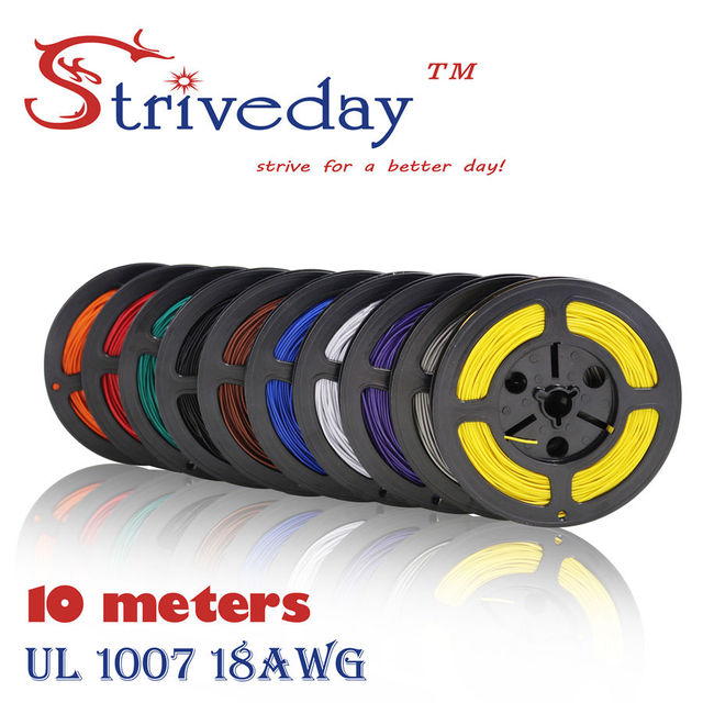 UL 1007 18 AWG Cable Copper Wire 10 Meters Red Black yellow 10 ...