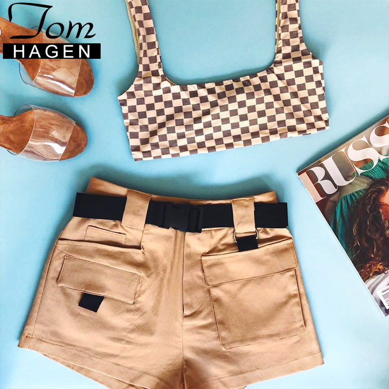 Womens Cotton Shorts Zipper Pocket High Waisted Hotpants Hot Pants
