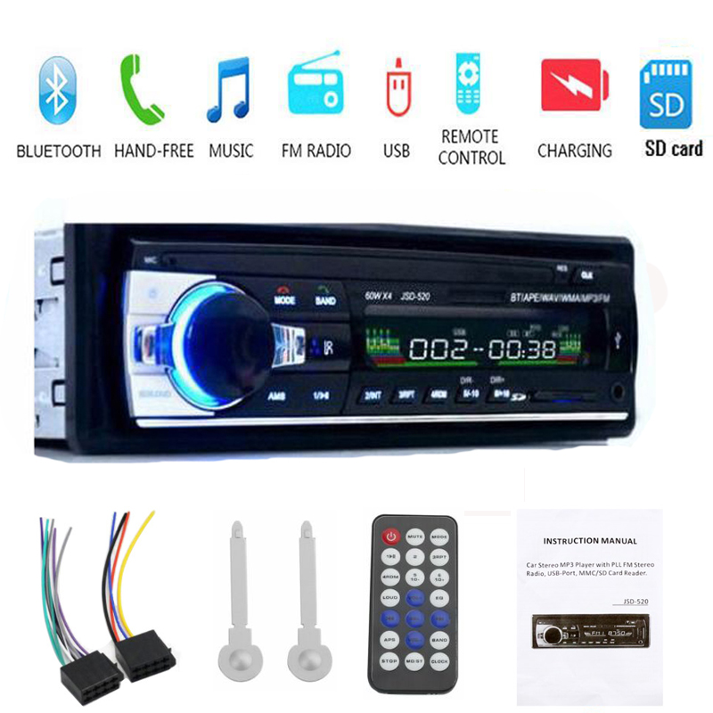 Msanzeo <font><b>Bluetooth</b></font> Stereo <font><b>Car</b></font> Audio FM <font><b>MP3</b></font> <font><b>Radio</b></font> <font><b>Player</b></font> <font><b>1</b></font> <font><b>Din</b></font> JSD-520 <font><b>SD</b></font> Card AUX-IN USB DC 12V <font><b>MP3</b></font> USB MMC WMA <font><b>Car</b></font> <font><b>Radio</b></font> <font><b>Player</b></font> image