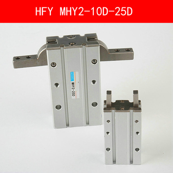 HFY MHY2 10D 16D 20D 25D Double Acting Pneumatic Gripper SMC Y Type 180 Degree Angular Style Aluminium Clamps Bore 10-25mm mhc2 20s m5bspt bore 20mm sns pnumatic finger air claw cylinder smc type normally open single acting angular style air gripper