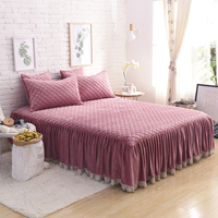 Bean sand color Khaki Gray Pink Red luxury Fleece Fabric Cotton Thick Bed Skirt bedding set lace edge bedspread pillowcases 3pcs