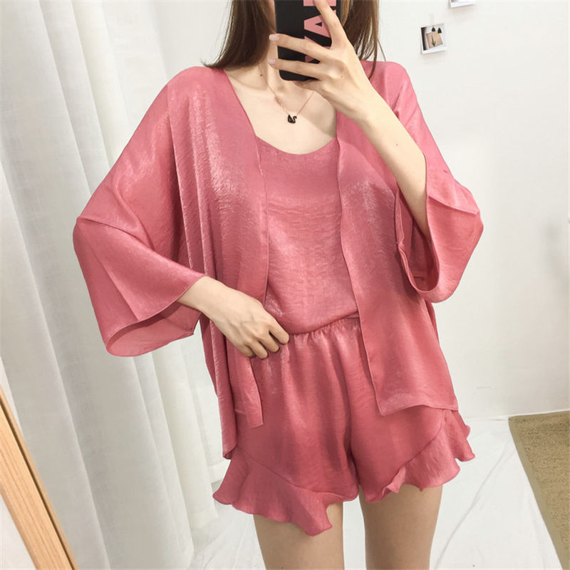 Autumn Women Pajama Sets 3pcs Set Cami Top +shorts + Robe Sleepwear Women Pajama Silk Satin Suit Sleepwear Long Sleeve Female