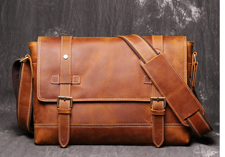 Crazy Horse Men Genuine Leather Briefcases Cross Body Shoulder High Capacity Business Bags Outdoor Travel Laptop Bags D840