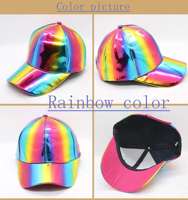7237fc14983 Detail Feedback Questions about Rainbow PU Leather Baseball Cap ...