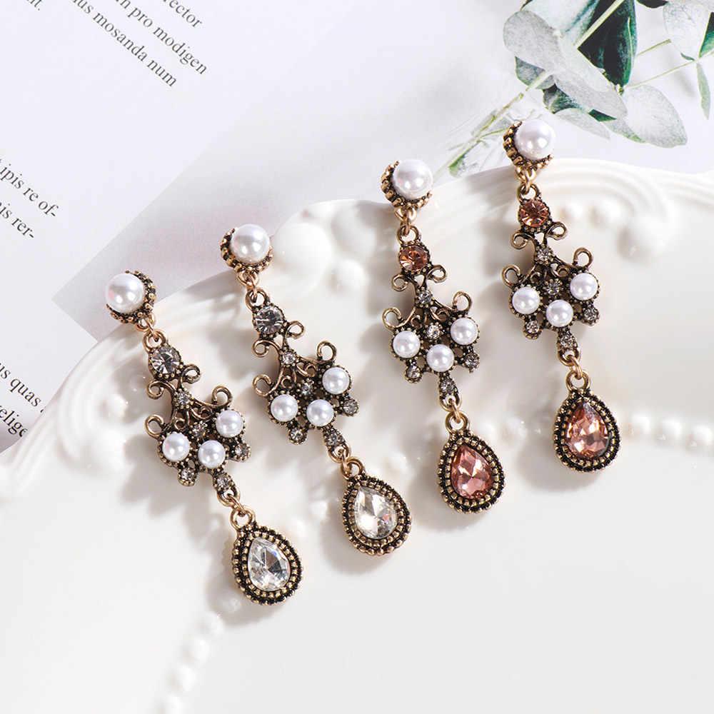 レトロシルバーニードルラインストーン模造ロング真珠のイヤリング耳ネイル耳スタッドドロップブラブライヤリングジュエリーパーティーギフト