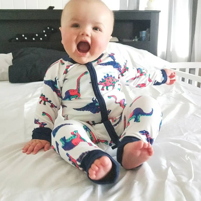 Dinosaur One Piece Printed Long Sleeve Baby Boy Girl Clothes 100% Cotton Jumpsuit Tiny Cottons Baby   Rompers   Newborn Infant gift