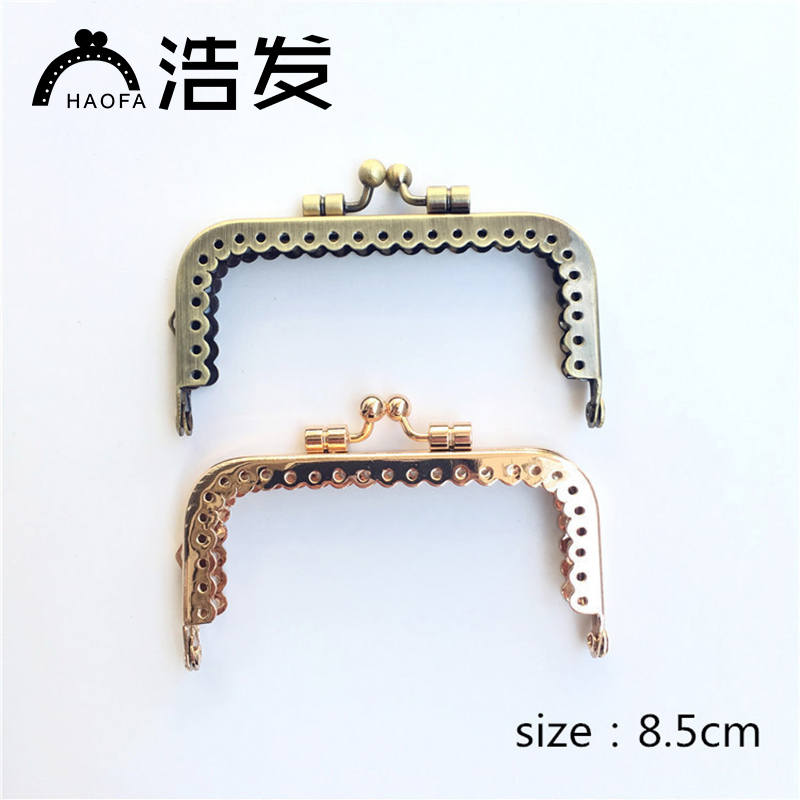 HAOFA 10pcs 8.5cm Bronze Kiss Clasp Antique Bronze Square Shape Lace Metal DIY Accessories for Bags Metal Bag Frame Purse Frame image