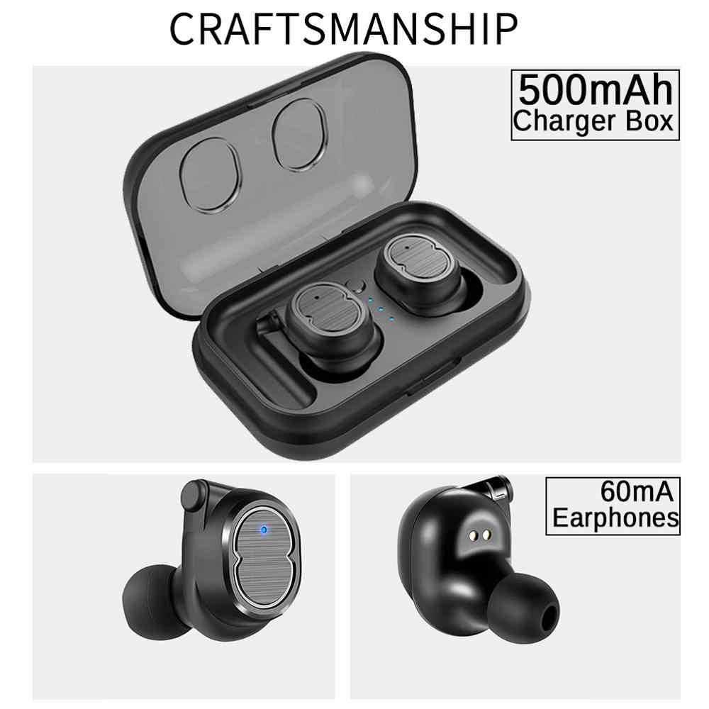 QCR T8 bezprzewodowe słuchawki TWS Bluetooth sportowe V5.0 zestaw słuchawkowy sterowanie dotykowe prawda douszne 6D Stereo głowy-darmowe IPX5 wodoodporna