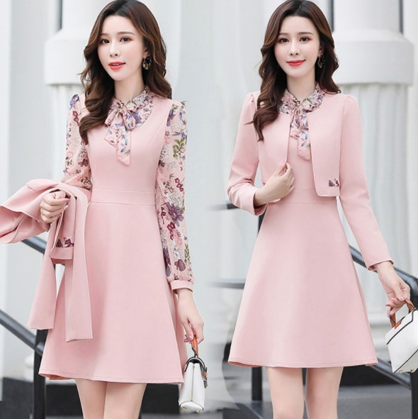 Women Office Wear Long Dress Suits Pink Yellow Green Dresses Suit 2 Pieces Set Outfit Clothes Womens Short Jacket And Dress
