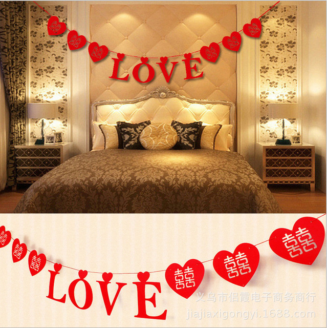 Large Heart Love Type Wedding Party Derorations Wedding Supplies Happy Anniversary  Decorations