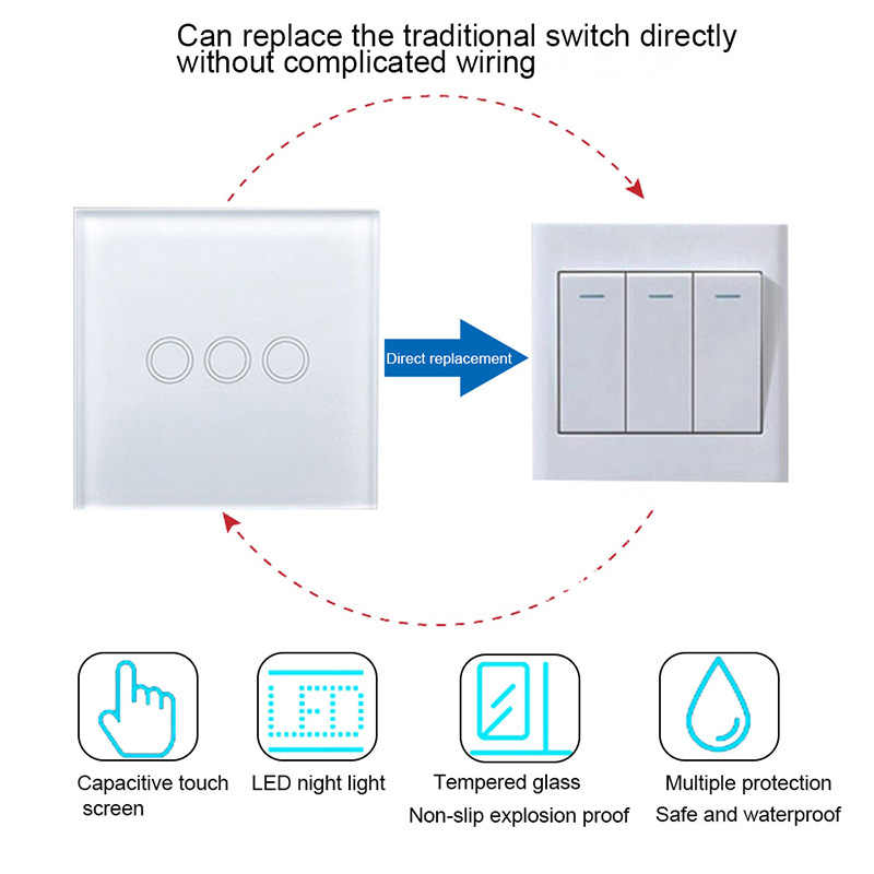 Hoomall 1 2 3 Gang 1 Way Panel Switch Ac 110 240v Eu Uk Standard Led Crystal Glass Panel Home Wall Touch Screen Switch Aliexpress