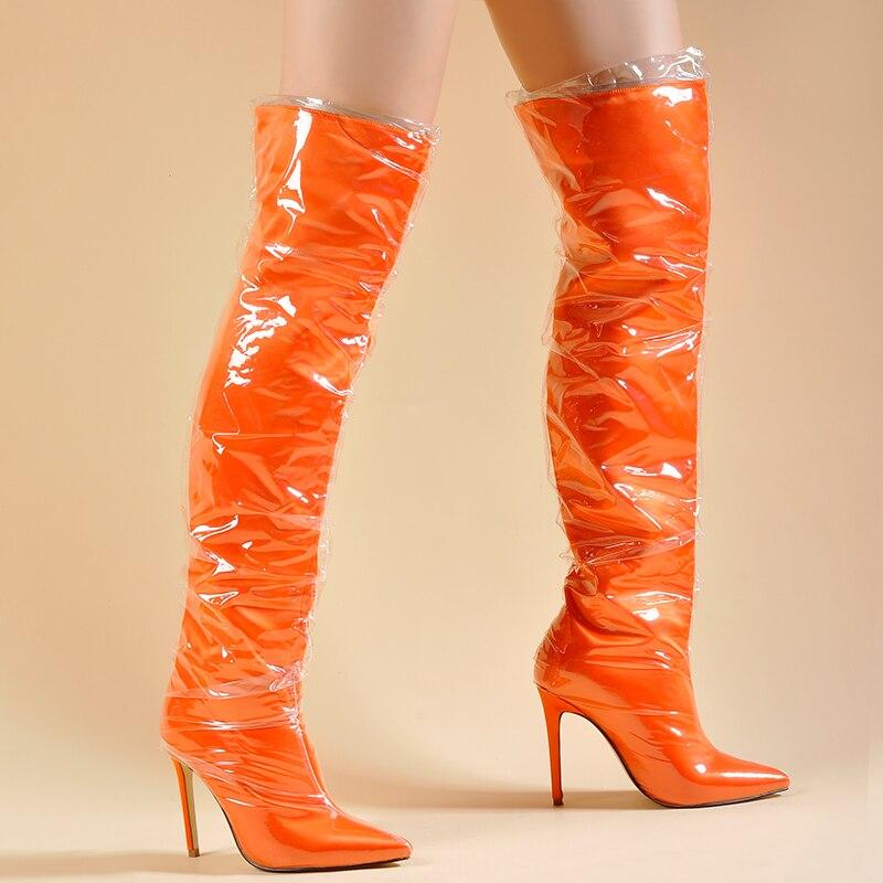 La En orange Impermeable Las Lila Encima Claro Caliente Del purple Perspex Sinsaut Alta Esponja De Interior Rodilla Por Black Zapatos Botas Mujeres Muslo Invierno El vwSEUZxE