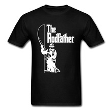 The Rodfather Fishinger Fish Father Tshirt Fisherman Fisher Autumn Black Tops & Tees Mens Crew Neck Top T-shirts EUR Plus Size
