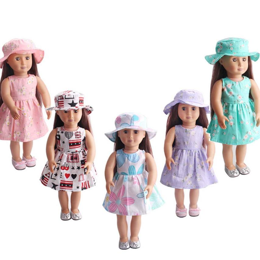 Skirt&Hat For 18 inch Our Generation American Girl Doll Accessories Drop Shipping Y0102 glitter doll shoes star dress shoe for 18 inch our generation american girl doll