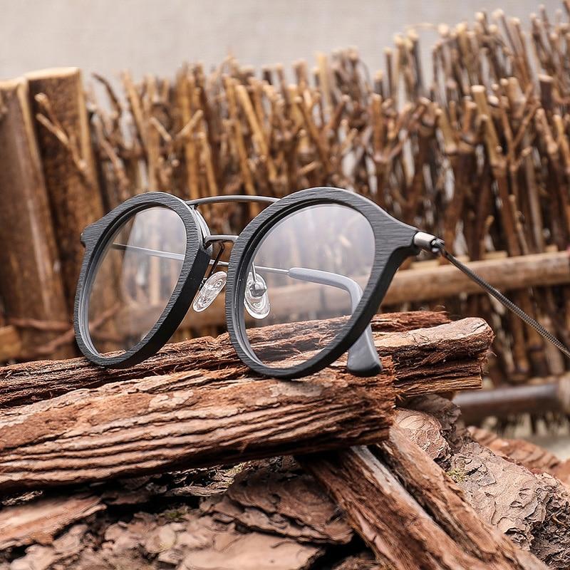 高品質男性近視レンズ木製眼鏡アセテート近視メガネフレーム男性のレトロなフレーム女性フレーム男性近視メガネ  グループ上の アパレル アクセサリー からの 処方メガネ の中 2