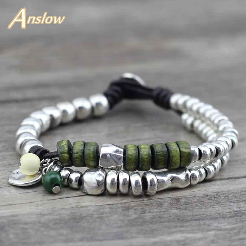 Anslow Brand Best Handmade DIY Fashion Jewelry Statement Leather Bracelet  Charm Bijoux Wood Beads Bangles Women Men LOW0459LB