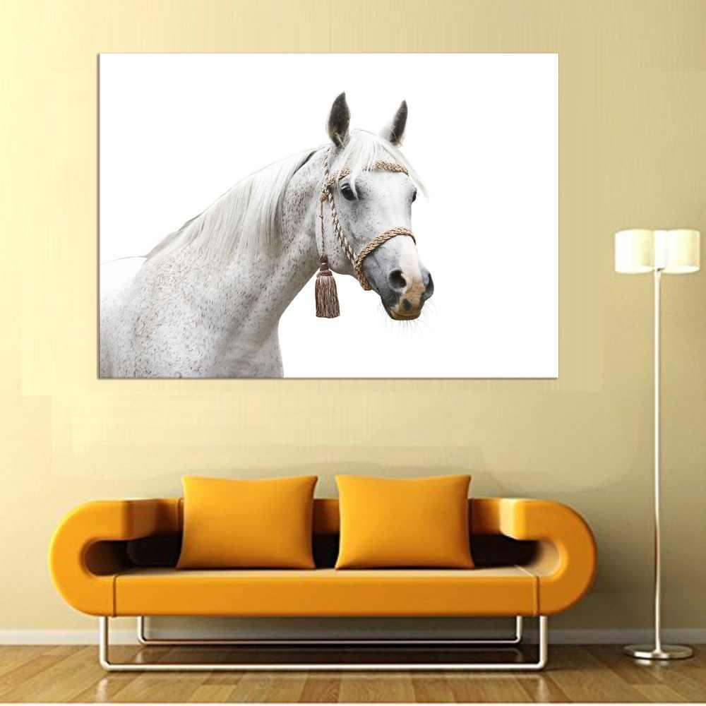 1パネル馬スタイル古典的な黒と白canva壁掛け絵画用ホーム/コーヒーショップの装飾