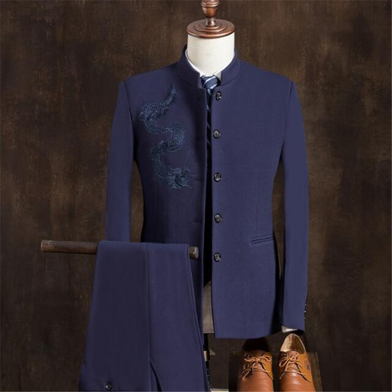 2018 Chino chaqueta Pantalones Chaleco Estilo Mandarín Hombres q0qzr 314601e2c93