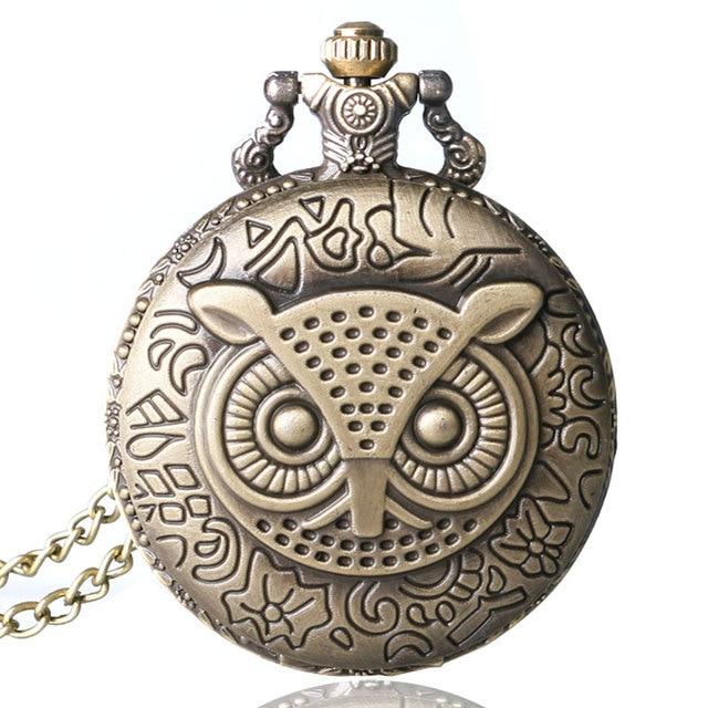 Antique Bronze Night Owl Necklace Quartz Pocket Watch Chain Men chiristmas gift