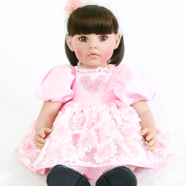 60cm Silicone Reborn Baby Doll Toys Lifelike Vinyl Pink Princess Toddler Babies Dolls Cute Child Birthday