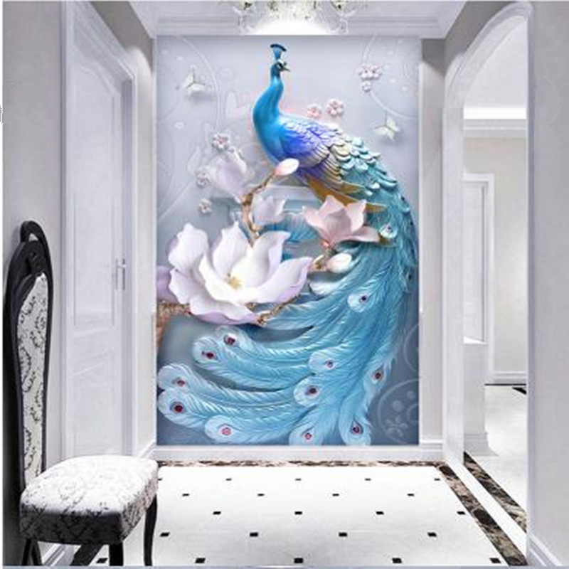 Peacock Flowers Relief Photo Wallpapers For Living Room 3D Wall Murals Rolls Hallway Hotel Theme Corridor Wall Papers Home Decor