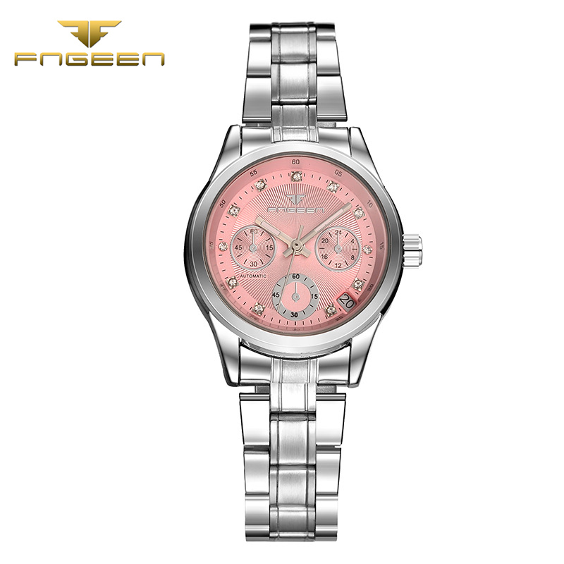 Top Brand FNGEEN Ladies Fashion Mechanical Watch Automatic waterproof wristwatch top quality women famous clock calendar vintage waterproof watch for women nuodun top brand hot sale ladies business watch with calendar week woman wristwatch assista mulher