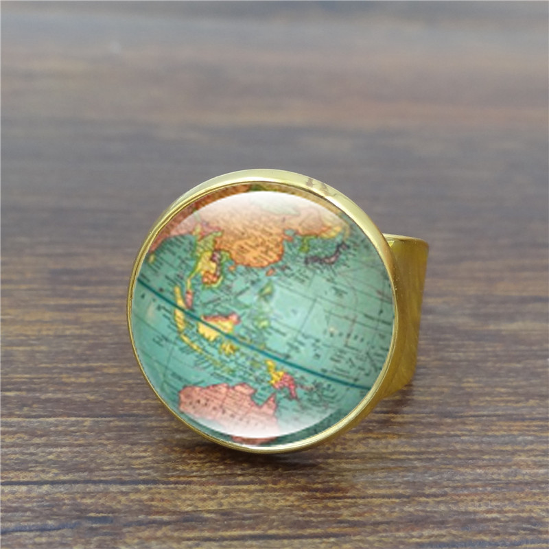 Vintage globe ring planet earth world map art glass dome ancient vintage globe ring planet earth world map art glass dome ancient bronze rings for women men jewelry in rings from jewelry accessories on aliexpress gumiabroncs Gallery