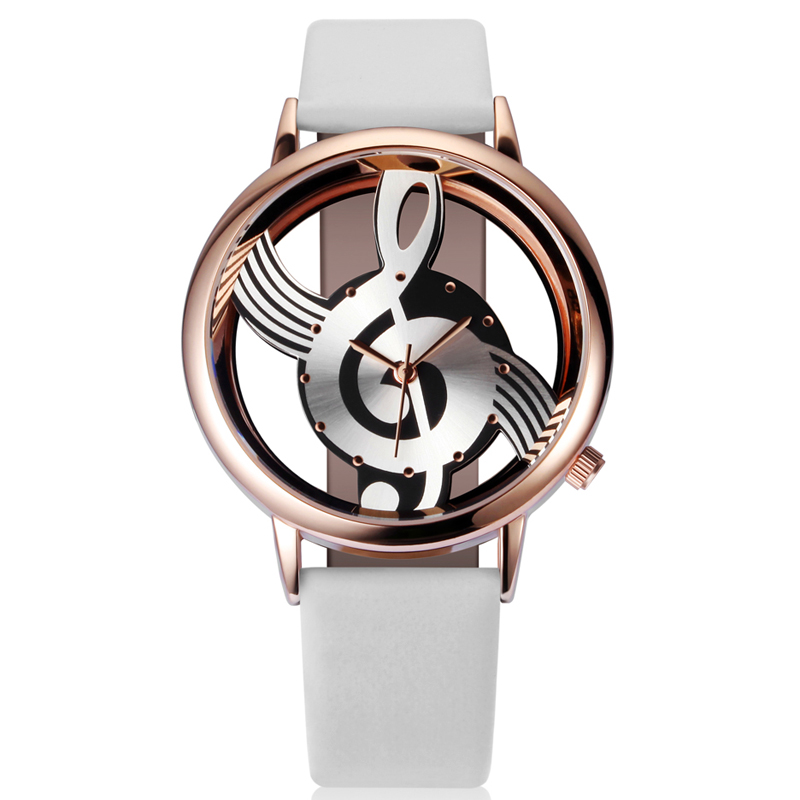 Hot Woman Quartz Analog Hollow Musical Note Style Leather WristWatch Fashion Ladies Gift Casual Watches Female