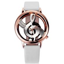 Caliente de la Mujer de Cuarzo Analógico Hollow Estilo de la Nota Musical Regalo de Moda de Señora Reloj de pulsera de Cuero Casual Relojes Mujer Relogio Feminino