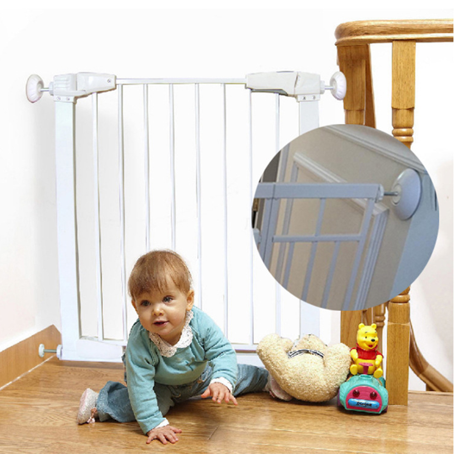 4 Packs Drill-Free Mounting Safety Gate Wall Bumper Cabine Guards Protector Baby Door Pet Door Stair Wall Cups Pad Indoor Safety