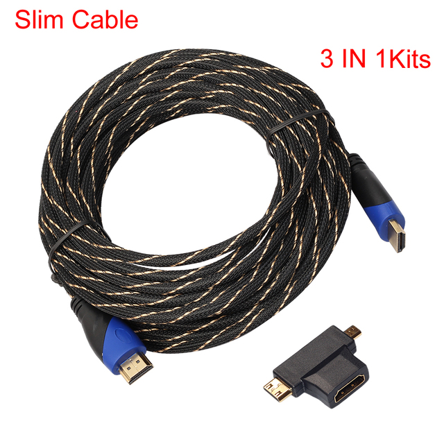 3 IN 1 HDMI Kits Nylon Mesh Braided Slim HDMI Cable V1.4+ ...