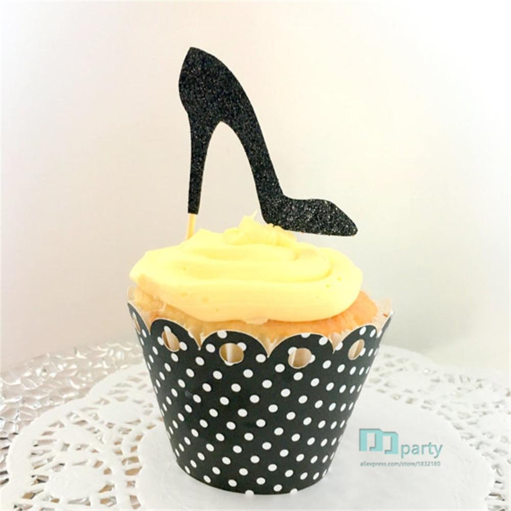 cupcake toppers, shoe cupcake topper,stiletto, Bridal Shower Decor,bachelorette decor,wedding decor,party decor,birthday decor
