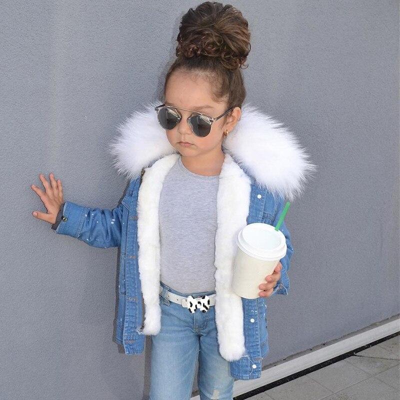 Детские пальто Зимние пальто с мехом для Девочек Кролик Мех животных лайнер Джинсовые куртки для пальто для девочек Мужские парки для куртк...