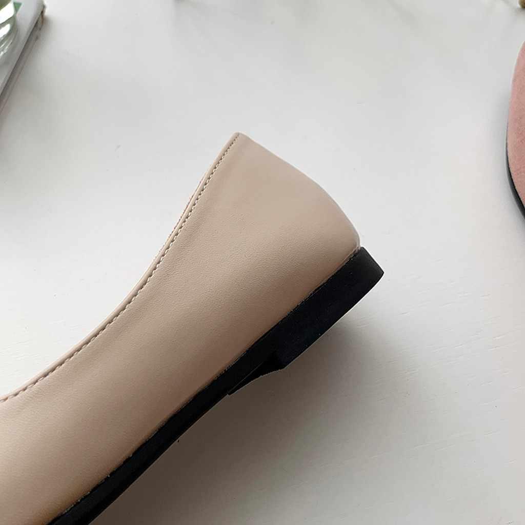 Otoño de mujer 2019 nuevos zapatos de mujer de Color de empalme planos de moda de punta estrecha bailarina Ballet zapatos planos de deslizamiento en las mujeres