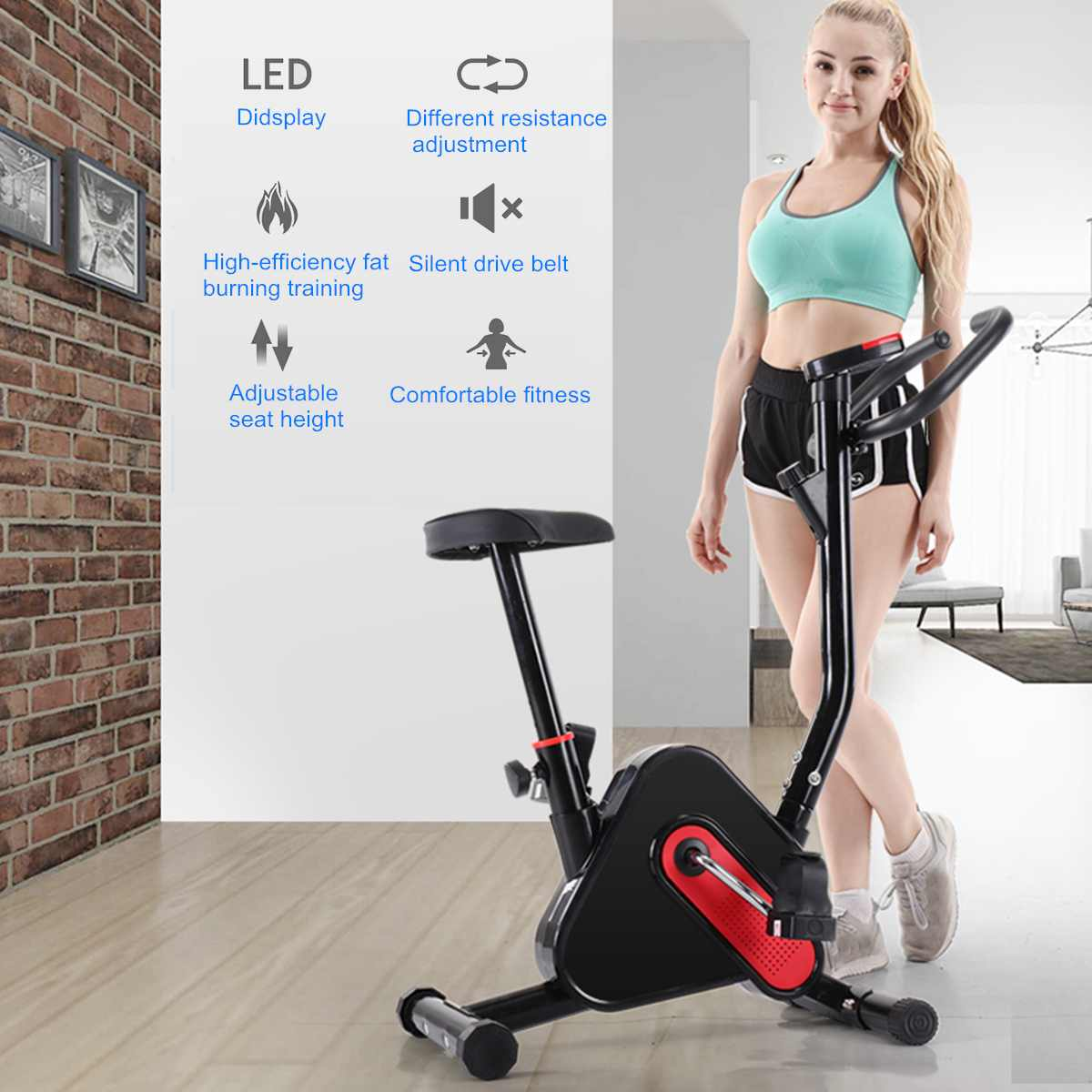 Indoor Cycle Exercise Stationary Bike With LCD Monitor Cardio Fitness Gym Cycling Machine Workout Training 265LB Max Weight