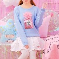 プリンセス甘いロリータセーター日本風プリンセスラブリー花スパンコール香水ボトルスリーブヘッド全試合セーターKMY50