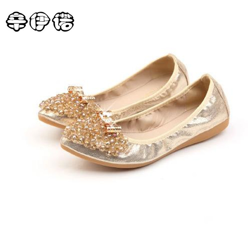 2017 Luxury Rhinestone Ballet Flat Shoes Women Spring Autumn Butterfly Pointed Toe Golden Shoes Loafers Plus Size 31-43 2017 spring summer new women casual pointed toe loafers flats ballet ballerina flat shoes plus size 34 43