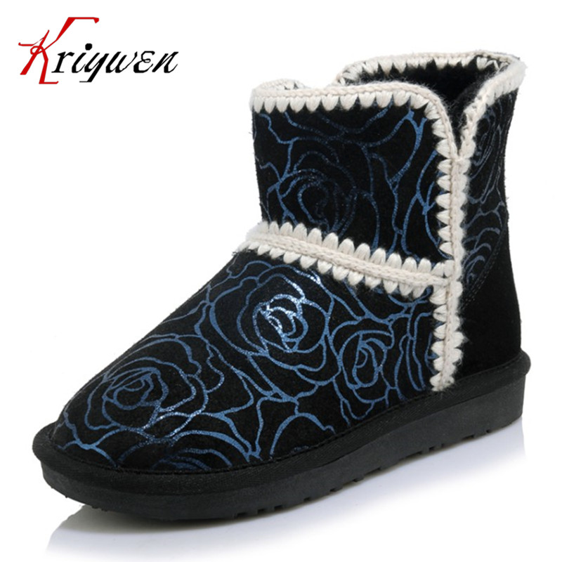 ФОТО Genuine leather women shoes printing leather flat with keep warm winter snow boots Russian women lovely shoes large size 34-43