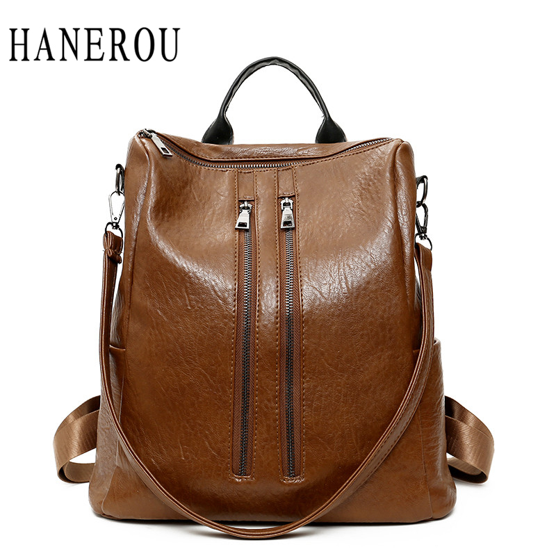 Hanerou Luxury Women Bags Designer Fashion Ladies Pu Leather Backpack Solid Preppy Style School Bag For Girls Unisex Travel Bag