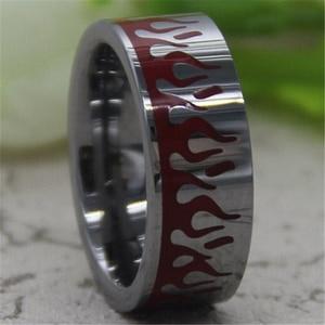 Image 3 - Darmowa wysyłka Hot sprzedaż 8 MM Comfort Fit rzeźbione płomienie z czerwony żywica projekt srebrny rury moda męska wolfram obrączka