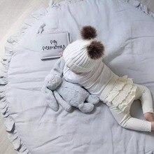 INS диаметр 100 см, скандинавские кружева, украшение детской комнаты, детское игровое одеяло, однотонный кружевной коврик для ползания, коврик для игр, подушка