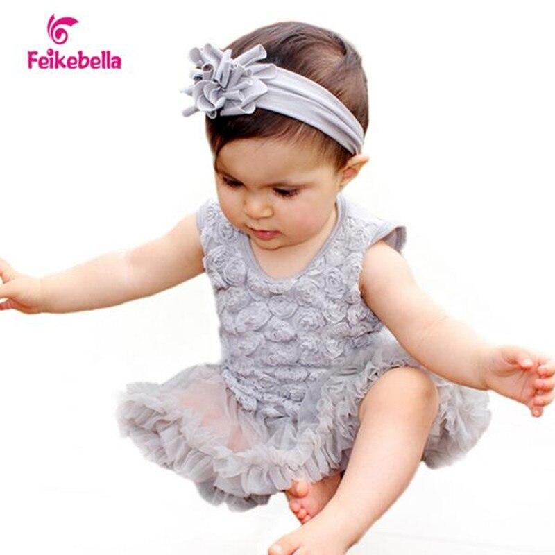 2016 Newborn Wedding Dresses Baby Girl Dress Sleeveless Rosette Ruffle Vestido Infantil Romper Vestidos + Sandal + Headband Sets