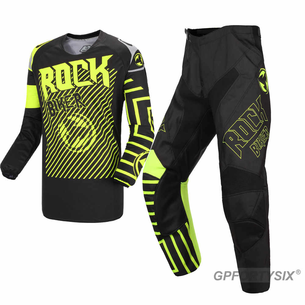 Rock Biker 2019 Top Kwaliteit Black Motocross Racing Suits Motorfiets Mx Dh Mtb Riding Jersey En Broek Combinatie Sets S-XXL