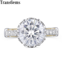 Transgems Vintage Ring Center 4ct 10mm F Color Moissanite 14K 585 Yellow and White Gold Engagement Ring fro Women Wedding