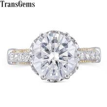 цены Transgems Vintage Ring Center 4ct 10mm F Color Moissanite 14K 585 Yellow and White Gold Engagement Ring fro Women Wedding