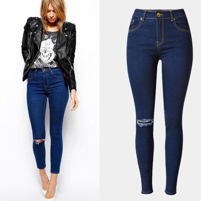 77bf4bcea Calça Jeans de Cintura alta Moda Casual Skinny Calças Lápis Azul Escuro  Plus Size Mulheres Calças