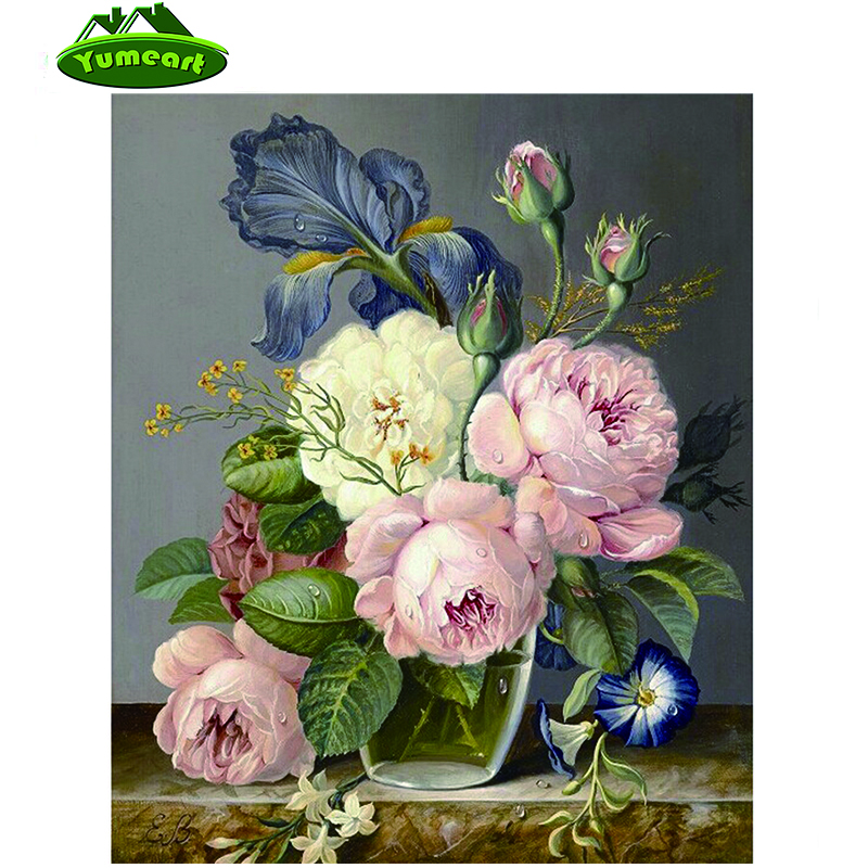Nové 3D kosočtvercové výšivky Květiny Diamantová malba Pivoňky květinový design váza řemesla velkoobchod křížový steh Trendy olejomalby